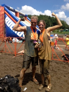 My dad and I after a 5k Mud Run. He will be running the half marathon alongside me!