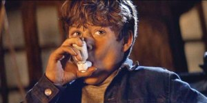 Mikey from The Goonies actually throws his inhaler away when he becomes a brave man. Spoiler: As an asthmatic, you can't throw away you're inhaler. It connects you to the breathing and the staying alive-ing.