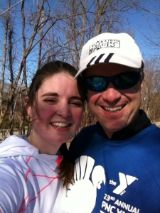 My dad and I after 10 miles! Looking nice and sweaty.