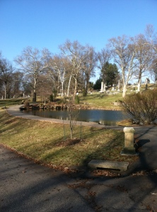 Here's a picture from my delightful and manageable 3-mile run through Bloomfield Cemetery. They even have lakes there!