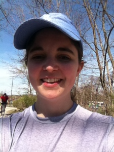 "This is after 12 miles last weekend (with a crooked hat?) — look out for this chick next weekend on the streets of Pittsburgh very early in the morning (she'll be the one moving at a pace that is barely considered ""running"")"