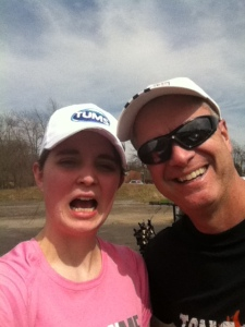 Me, tortured, with my dad on our training run. (Please note: Tums Hat = Cool Kid)