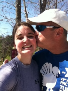 My dad and I after 12 miles! (pretty adorable if I do say so myself.)