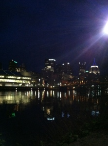 Pittsburgh at 5:30 a.m. What a beautiful sight from my walk over to the starting line.