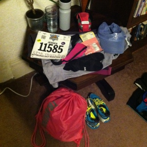 All of my gear the night before! My chews, my clothes, and my bib!