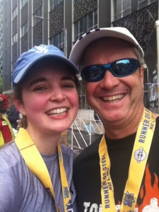 My dad and I after 13.1 miles. We are RUNNERS OF STEEL :)